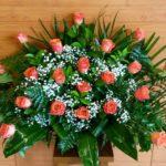 Centro rosas coral